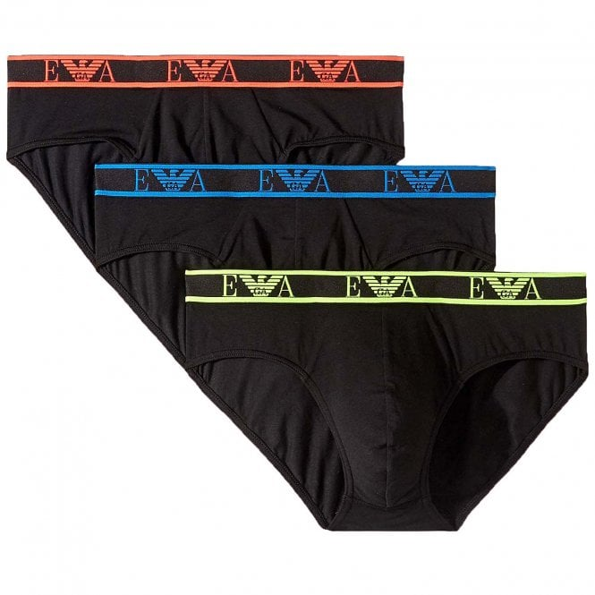 Emporio Armani Logo Stretch Cotton 3-Pack Brief, Black