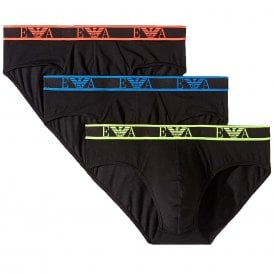 Logo Stretch Cotton 3-Pack Brief, Black