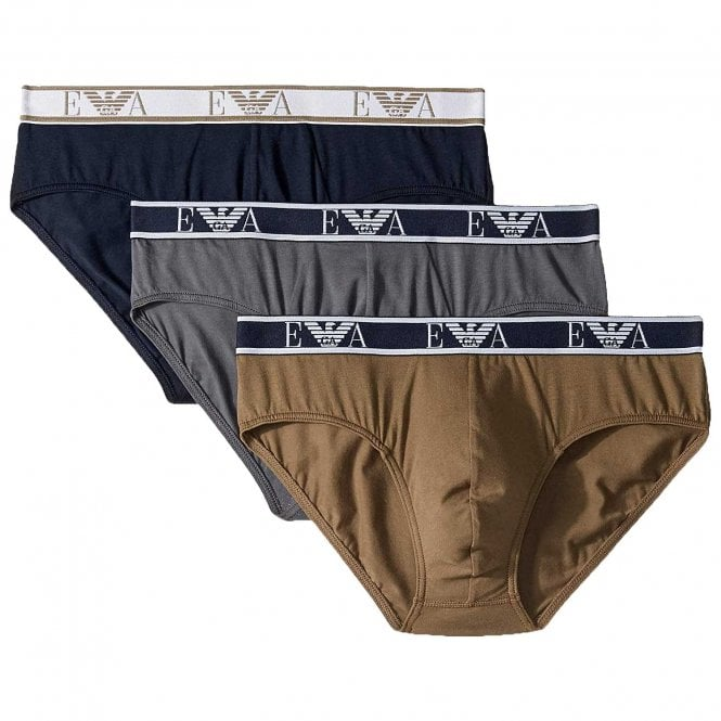 Emporio Armani Logo Stretch Cotton 3-Pack Brief, Grey / Marine / Khaki Green