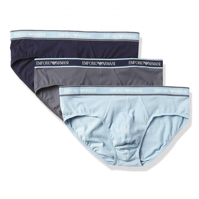 Emporio Armani Underwear Logo 3-Pack Brief, Jasmine / Marine / Anthracite