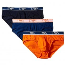 Logo Stretch Cotton 3-Pack Brief, Marine / Bluette / Orange