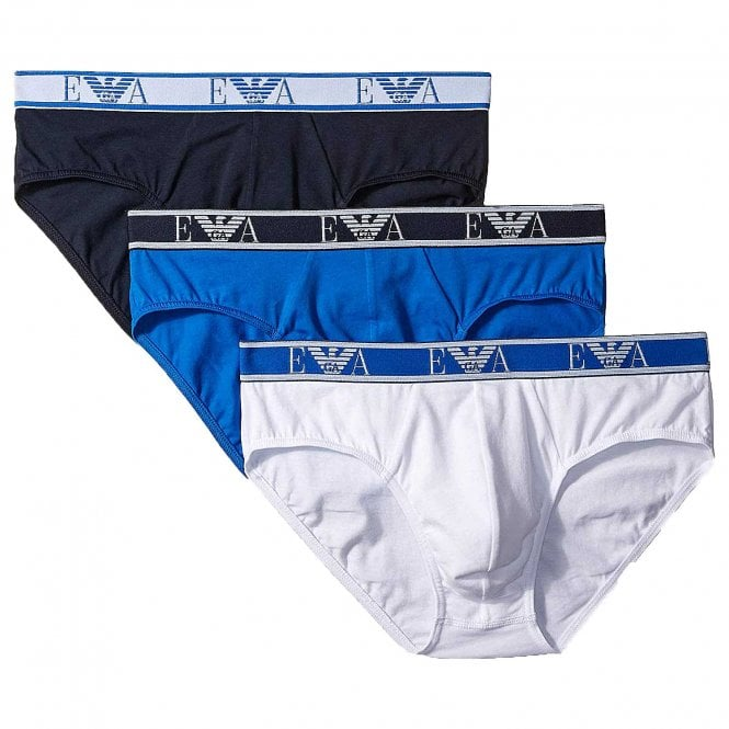 Emporio Armani Logo Stretch Cotton 3-Pack Brief, White / Marine / Wave Blue