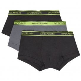 Logo Stretch Cotton 3-Pack Trunk, Black/Grey/Black