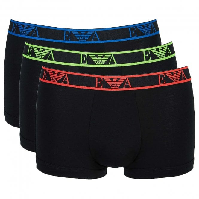 Emporio Armani Logo Stretch Cotton 3-Pack Trunk, Black