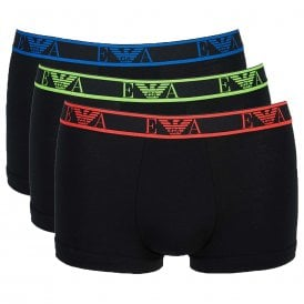 Logo Stretch Cotton 3-Pack Trunk, Black