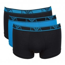 Logo Stretch Cotton 3-Pack Trunk, Black / Pop Turquoise / Black