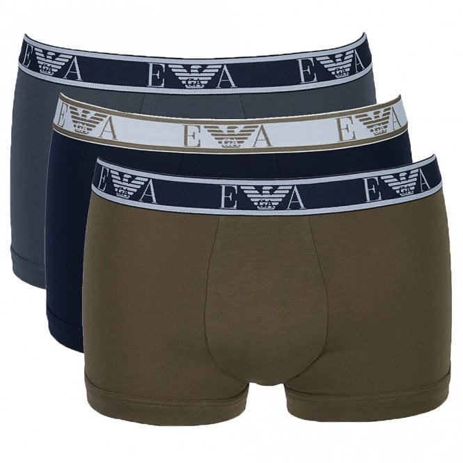 Emporio Armani Logo Stretch Cotton 3-Pack Trunk, Grey / Marine / Khaki Green