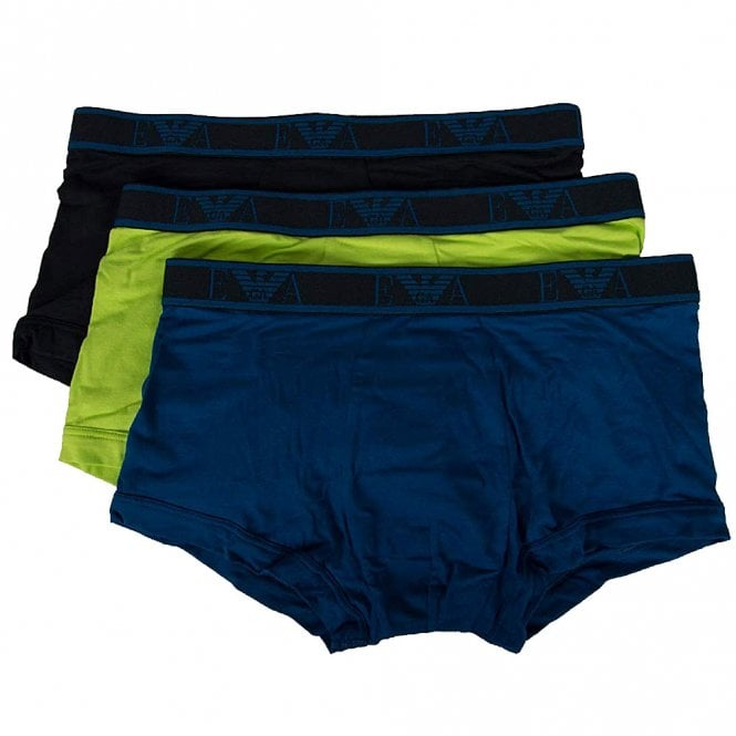 Emporio Armani Logo Stretch Cotton 3-Pack Trunk, Lime/Marine/Roy Blue