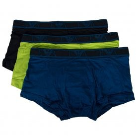 Logo Stretch Cotton 3-Pack Trunk, Lime/Marine/Roy Blue