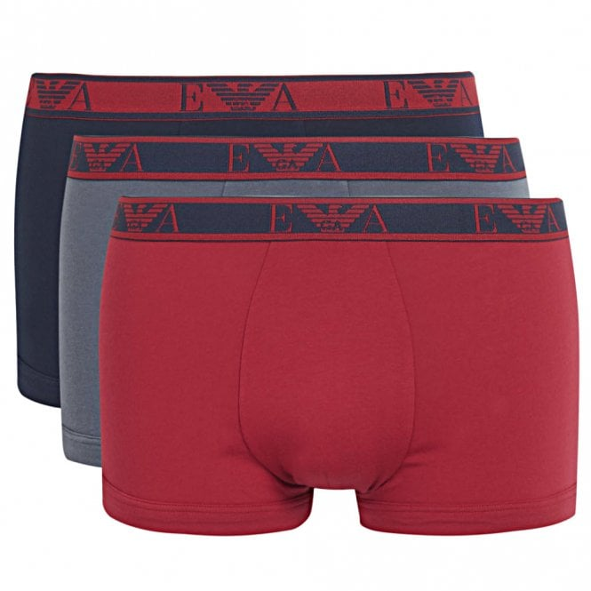 Emporio Armani Logo Stretch Cotton 3-Pack Trunk, Marine / Ruby / Grey