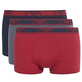 Logo Stretch Cotton 3-Pack Trunk, Marine / Ruby / Grey