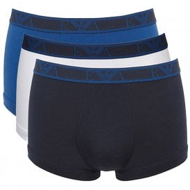 Logo Stretch Cotton 3-Pack Trunk, Navy / Blue / White