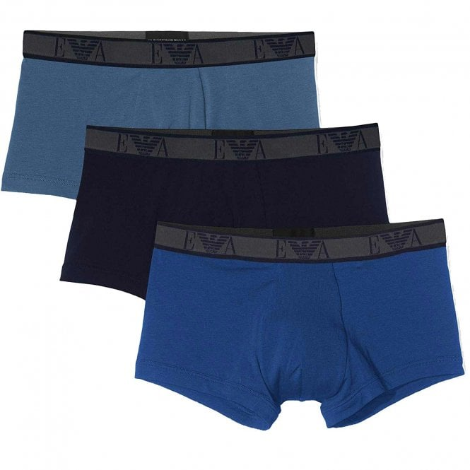 Emporio Armani Logo Stretch Cotton 3-Pack Trunk, Roy Blue/Marine/Indigo