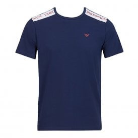Logo Tape Stretch Cotton Crew Neck T-Shirt, Navy Blue