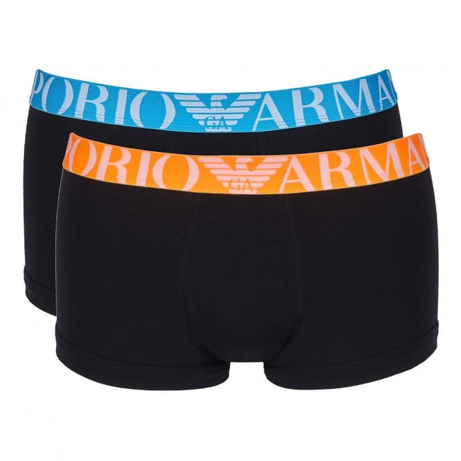 Emporio Armani Logoband Stretch Cotton 2-Pack Trunk, Black