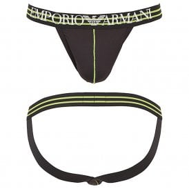 Microfiber Jockstrap, Black With Yellow Trim