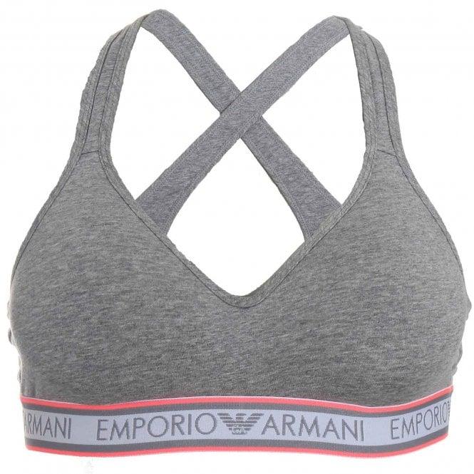 Emporio Armani Underwear Padded Stretch Cotton Bralette, Grey / Pink Trim