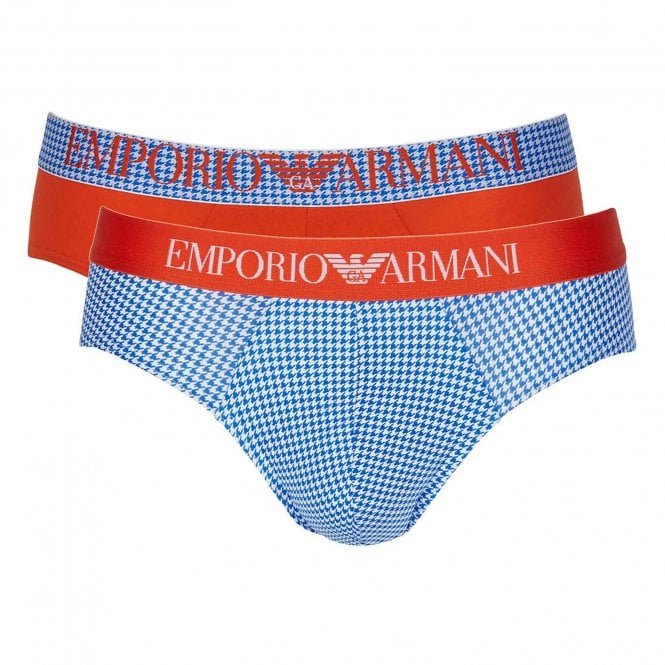 Emporio Armani Pop Print Stretch Cotton 2-Pack Brief, Houndstooth / Orange