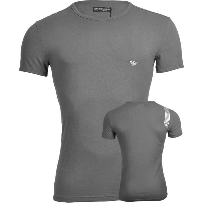 Emporio Armani Shiny Logo Stretch Cotton Crew Neck T-Shirt, Grey