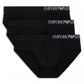 Side Logo Stretch Cotton 3-Pack Brief, Black