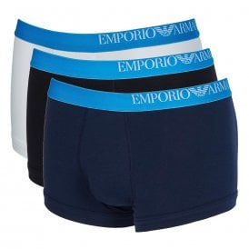 Side Logo Stretch Cotton 3-Pack Trunk, White / Black / Marine