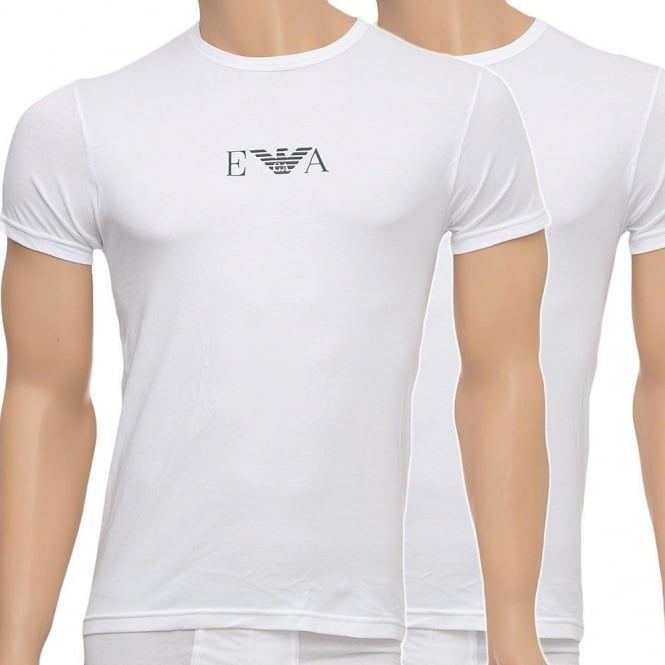 Emporio Armani Stretch BI-Pack Crew Neck T-shirt, White