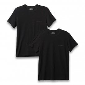 Bodywear Stretch Cotton 2-Pack Crew Neck T-shirt, Black / Black