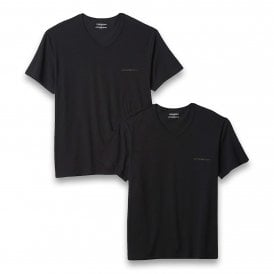 Bodywear Stretch Cotton 2-Pack V-Neck T-shirt, Black / Black
