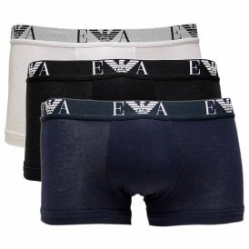 Stretch Cotton 3-Pack Trunk, White / Black / Marine