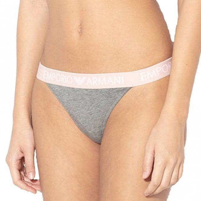 Emporio Armani Underwear Stretch Cotton Thong, Dark Grey Melange