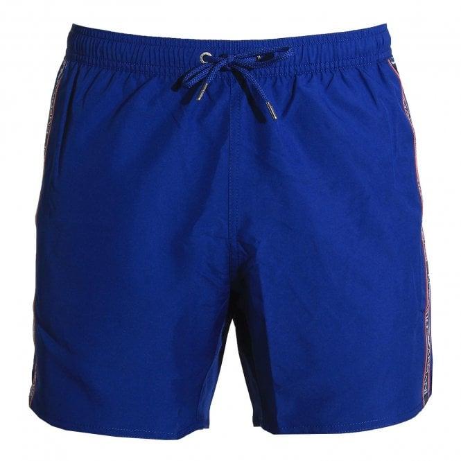 Emporio Armani Swimwear Bold Logo Tape Swim Shorts, Cobalt Blue
