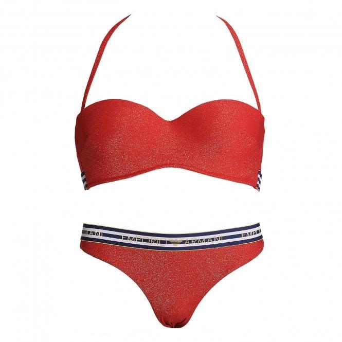 Emporio Armani Swimwear Cruise Padded Bikini Top & Bikini Bottom, Red