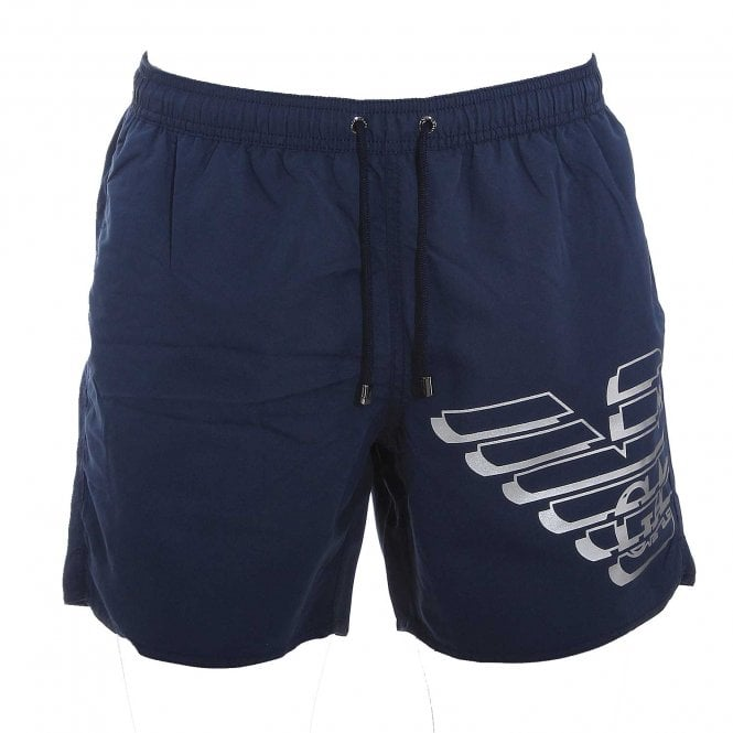 Emporio Armani Swimwear Eagle Logo Swim Shorts, Navy