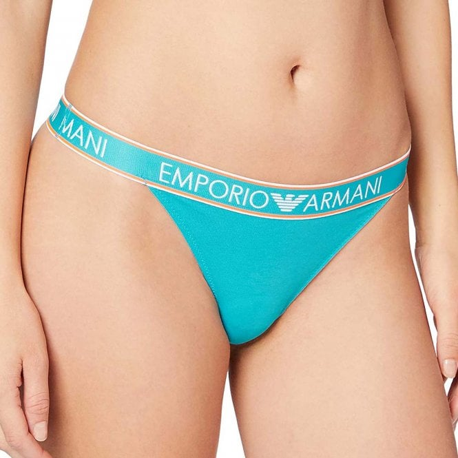 Emporio Armani Underwear Visibility Iconic Logoband Stretch Cotton Thong, Water Green