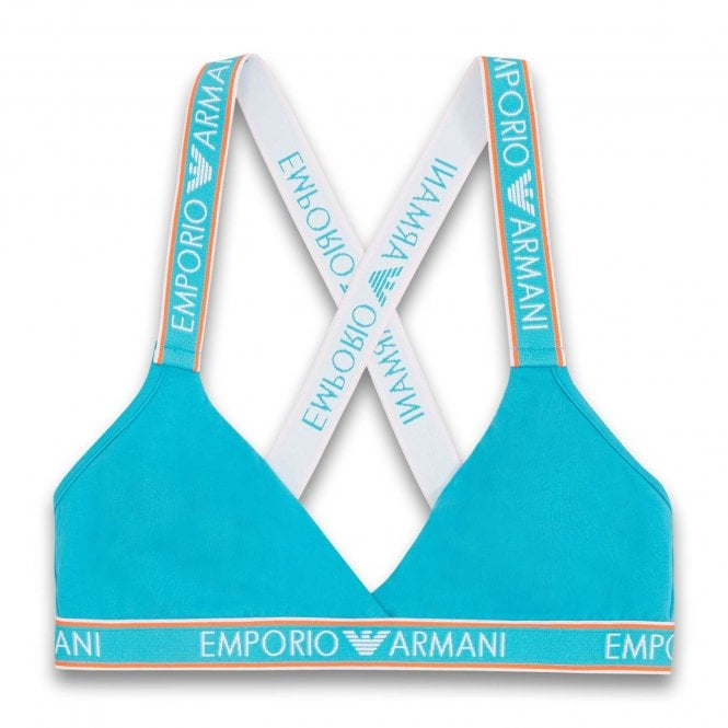 Emporio Armani Underwear Visibility Iconic Logoband Triangle Bralette, Water Green