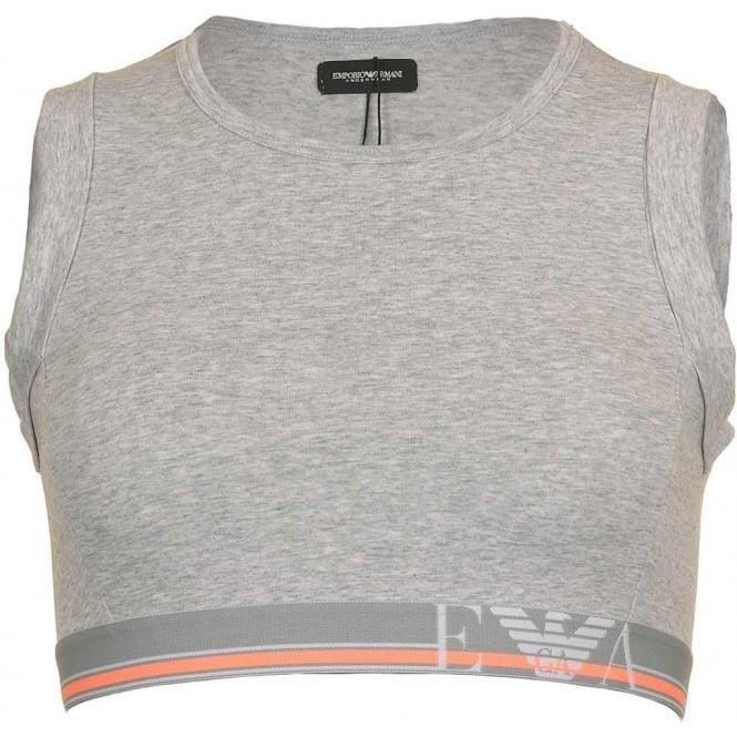 Emporio Armani Underwear Visibility Pop Lines Stretch Cotton Short Top, Grey
