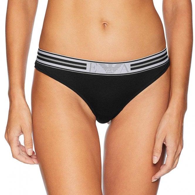 Emporio Armani Underwear Visibility Pop Lines Stretch Cotton Thong, Black