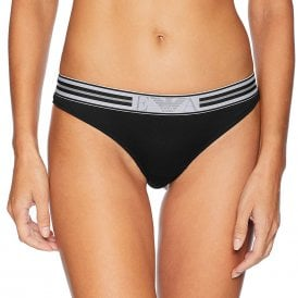 Visibility Pop Lines Stretch Cotton Thong, Black