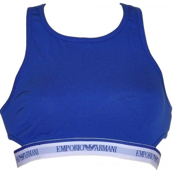 Emporio Armani Underwear Visibility Stretch Cotton Bralette, Electric Blue