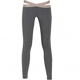 Cut Out Detail Leggings, Dark Grey Melange