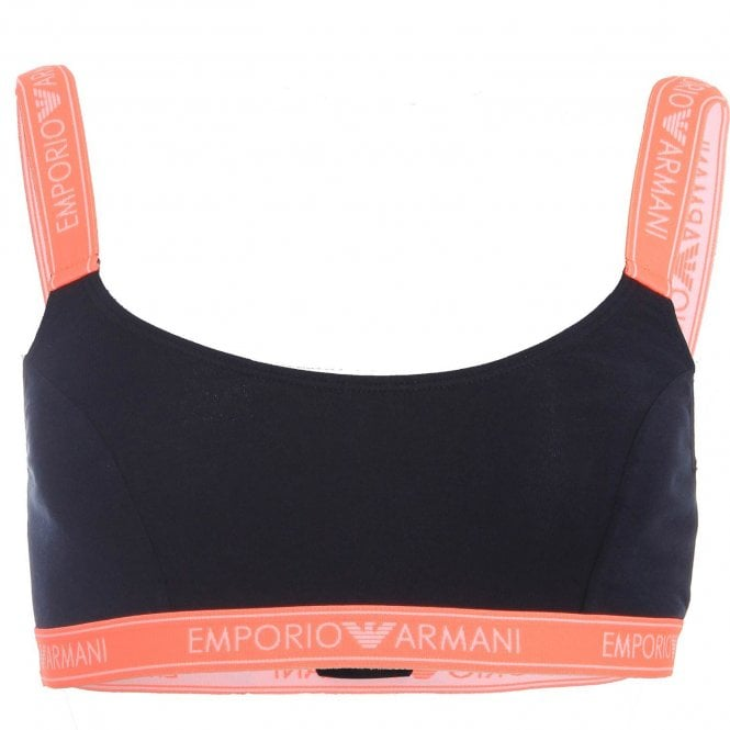 Emporio Armani Women Iconic Logo Band Stretch Cotton Bralette, Dark Navy with Contrast Band