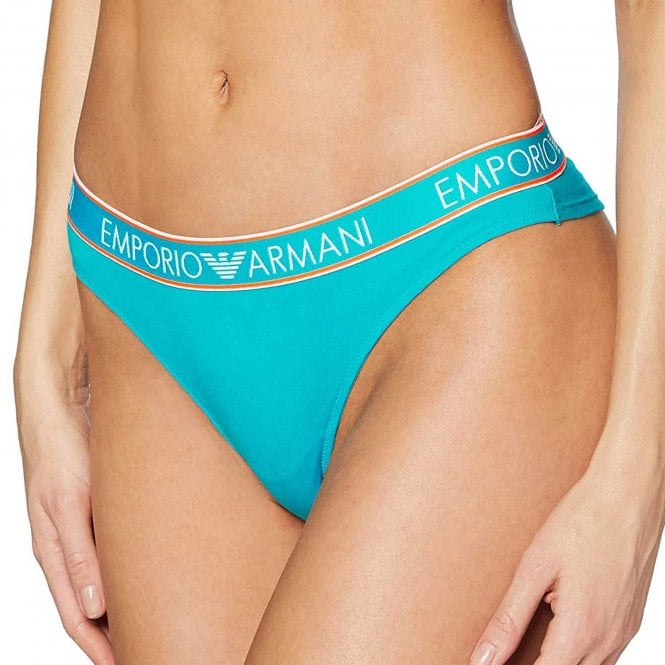 Emporio Armani Women Visibility Iconic Logoband Stretch Cotton Brazilian Brief, Water Green