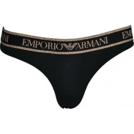 Visibility Iconic Stretch Cotton Thong, Black with Rose Gold