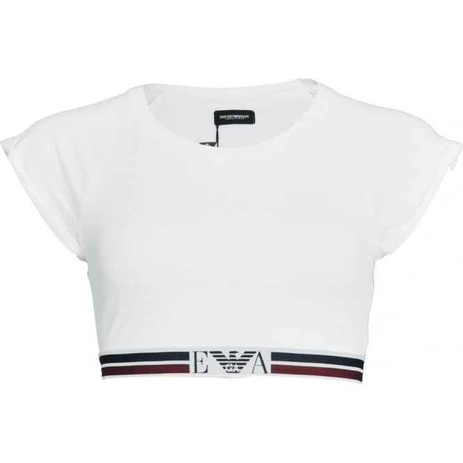 Emporio Armani Women Visibility Pop Lines Stretch Cotton Short Top, White