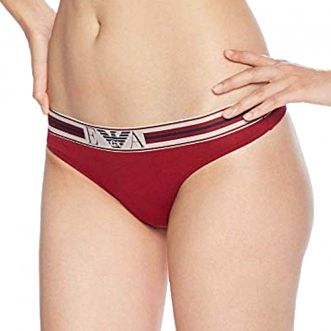 Emporio Armani Women Visibility Pop Lines Stretch Cotton Thong, Rhubarb