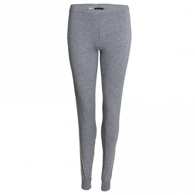 Emporio Armani Women Visibility Sparkle Logo Lounge Pant with Cuffs, Grey