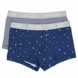 Brando Boxerlines Boxer Brief 2-Pack, Navy Print / Navy Stripes