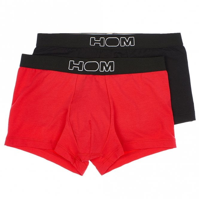HOM COLOURFUL Boxerlines Boxer Brief 2-Pack, Red / Black