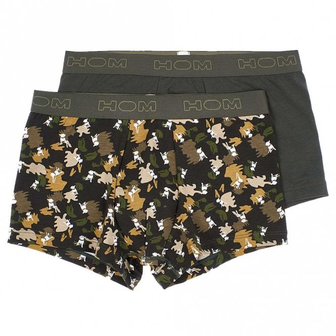 HOM DOG Boxerlines Boxer Brief 2-Pack, Khaki / Khaki Print