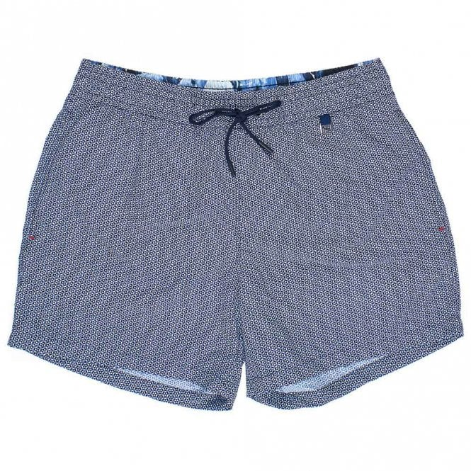 HOM Topaz Swim Shorts, Navy / White